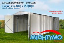 Garden Shed 3.4(W)x5.1(D)x2.5(H)m high, Steel, Garage, Workshop