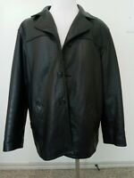 MISTY HARBOR LEATHER JACKET Mens size L Black zippered insulated