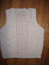 HANDKNIT Beige Cotton Womens L Sleeveless Summer Shell Lt Weight Sweater Top NEW