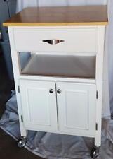Wonderful Gently Used Kitchen Storage Cart - White Finish - Wood Laminate Top