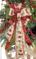 CHRISTMAS BURLAP REINDEER NOEL WIRED BOW WREATH SWAG GARLAND MAILBOX POST #51 rb