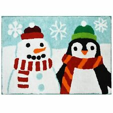 St Nicholas Square Penguin & Snowman Pal Throw Rug 20x30 Cotton Bath Mat