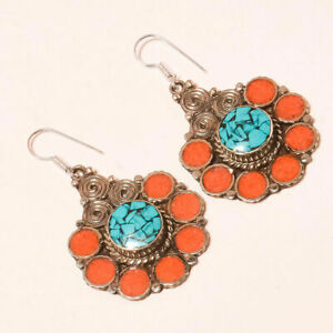 "Tibetan Turquoise Red Coral Handmade Jewelry Nepali Earring S-2"" NE-23"