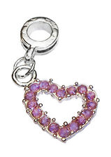 February Birthstone Purple Rhinestone Heart Dangle Bead for Euro Charm Bracelet