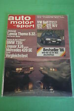 AMS Auto Motor Sport 26/86 Lancia Thema 8.32 BMW 735i XJ6 MVS Venturi