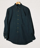 Land's End Brushed Cotton Check Shirt Size M Teal Blue Long Sleeves Smart Casual
