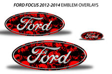 Oval Badge Emblem Logo Overlay Sticker Decals For Ford Focus 2012-2014 RED SKULL