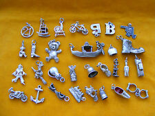 QQ VARIOUS VINTAGE STERLING SILVER CHARM CUFFS, B, G, TEDDY, BOT, CLOWN, ANCHOR