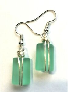 Sea Glass Earrings Mint Green Wire Wrapped Sea Glass Mini Puffed Rectangles