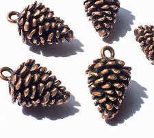 5 x Large Copper tone Pine Cone Charms Pendants, Winter Christmas Embellishments
