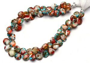 """Natural Gem Oyster Copper Turquoise 10MM Size Smooth Heart Shape Beads 10"""" 190Ct"""