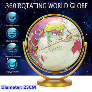 32cm World Globe Map Gold Ocean Geography Educational Toy Gift With Swive