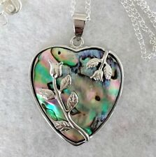 "Stunning HEART Abalone Paua Shell Pendant on 20"" silver plated chain  gift"