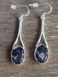 Rare Vintage Style Derbyshire Blue John  Silver Large Stone  Drop Earrings J2660