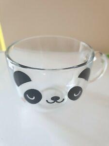 PANDA Glass Cappuccino Mug Cup Animal Bear Coffee Tea Dish washer safe NEW