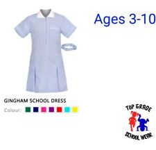 Girls school dress spring summer ages 3-12 blue red green yellow