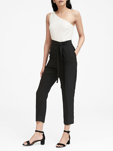 Banana Republic Women's White Black One Shoulder Cropped Jumpsuit Sz 4 NWOT $149