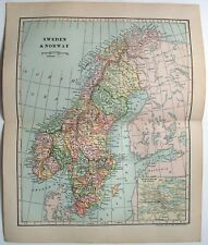 Original 1903 Map of Sweden & Norway by Dodd Mead & Company