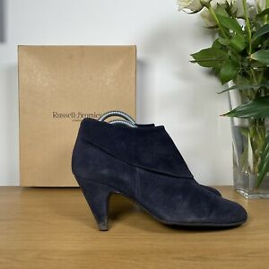 Womens RUSSELL & BROMLEY BUCKSHOT Blue Suede Cuff Ankle Heeled Boots -UK5.5/38.5