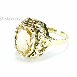 Alter 30er Jahre Ring Art Déco 3,3 ct Citrin 835 Silber vergoldet 18,1 mm Gr. 57