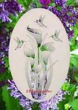 Lily Hummingbirds Window Cling Decal New Oval 10x16 Sliding Glass & Door Decor