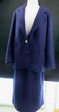 Vinatge Navy Blue Wool Savannah Womens Skirt and Blazer Set Outfit Size 8 /10