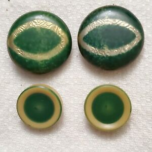 Tight Top Button Lot of 4 Vintage Art Deco Celluloid Over Foil Metal Green Gold