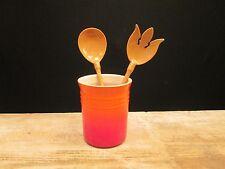 Le Creuset ORANGE Utensil Holder Stoneware Organizer Spoons Wisk Kitchen Caddy