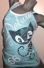 Pussy Deluxe Octo Cat Damen Sommer Shirt Tanktop blau S NEU