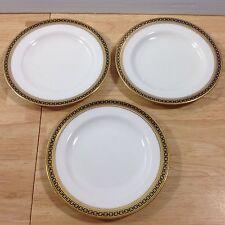 Antique Spode Copeland Majestic 3 Bread Butter Plates Gold Cobalt Chain 1900s