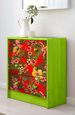 Chest of 3 drawers - TROPICAL BRAZILIAN FLOWERS red background- MADE TO ORDER