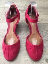Clarks Soft Wear Fuchsia Leather Mary Jane Wedge Heels UK Size 6D