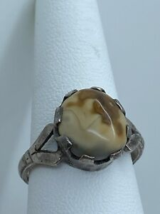 925 Sterling Silver Mens Ring Unique Handmade natural fire Amber size 9.5 US