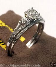14k White Gold 1/3c Round Diamonds Halo Style Engagement Ring Bridal Wedding Set