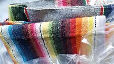 Vintage Mexican Saltillo Serapi Ombre Handwoven Wool Blanket Vibrant 40-50s Huge