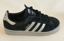 ADIDAS Campus Trefoil Suede Black and 3 White Stripe Womens US 2 Uk 1.5 2017