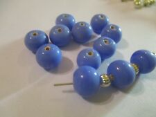 36 ~ 10 x 8 mm Blue  Lampwork Glass Beads SS`