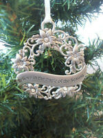 "Vintage Ganz Christmas Wreath Pewter Ornament Poinsettia Rhinestones ""Believe"""