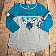NBA Ultra Game Womens XL Charlotte Hornets Raglan 3/4 Sleeve Tee Shirt NEW