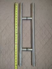 """Solid Stainless Glass or Wood Door Pull Handle Set 24"""""""