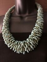 Vintage Statement turquoise Seed Glass Bead Work Necklace