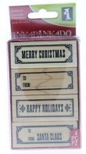 Inkadinkado Merry Christmas Greeting Tag Makers Set Wooden Rubber Stamp