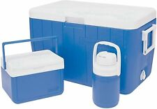 Coleman 3 Piece Cooler Ice Chest Combo Set, Blue/White, 54 QT/5QT/1-3GAL, New