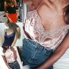 Women Lace V-Neck Tank Tops Bustier Bra Vest Crop Top Bralette Shirt Blouse Cami