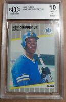 🔥1989 Fleer  #548 (Ken Griffey Jr.) *RC (Rookie card) HOF*  GRADED 10 GEM MINT