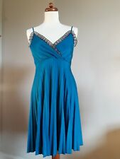 Unique Quirky Turquoise Blue Vintage Inspired Skater Pleated Dress Size 10