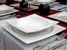 Laevis 26 tlg 6 Personen Porzellan Tafelservice Teller Set Kombi Geschirr Eckig!