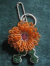 LOVELY BEADED ORANGE FLOWER & GREEN LEAVES KEY RING AND/OR HANDBAG CHARM