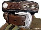 Nocona Western Mens Belt Top Hand Southwest Laced Concho Black Brown  N2475701