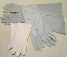 Women's vintage lot 3 pair cotton & nylon gloves - white & blue size 6 -  00002Ef8 Gc